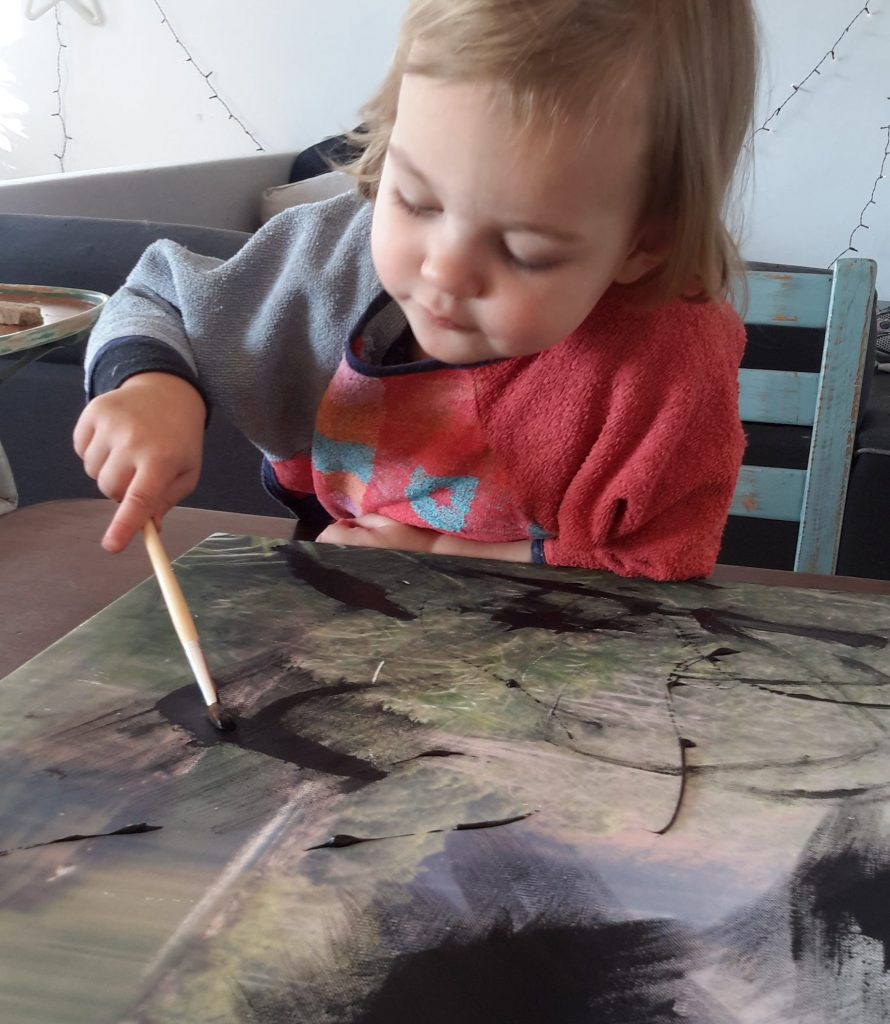 Painting just like mum!